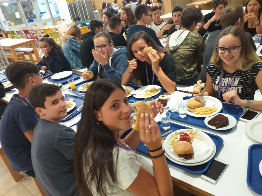 Chichester English campus students at canteen